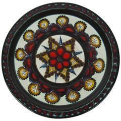 Mid-Century Gebrüder Haas Kunst Keramik Art Pottery Plate, Liechtenstein