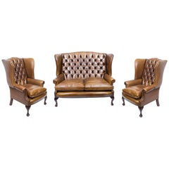 Bespoke English Handmade Three Leather Suite Chippendale Hazel