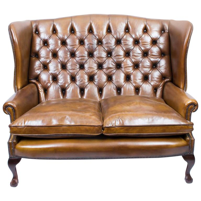 English Leather Chippendale Club Settee Sofa In Cognac For