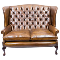Bespoke English Leather Chippendale Club Settee Sofa in Cognac