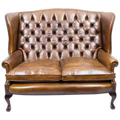 English Leather Chippendale Club Settee Sofa in Cognac