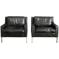 Pair of 1970s European Black Leather Club Chairs or Fauteuils