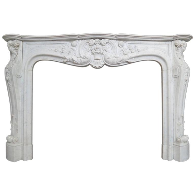 Large French Antique Louis XV Carrara Marble Fireplace Mantel 1