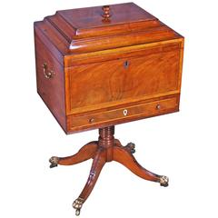 Regency Period Mahogany and Satinwood Teapoy