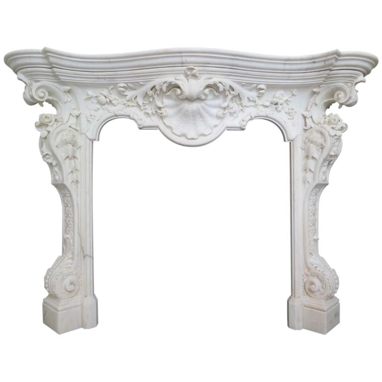18th Century English Rococo Style Statuary White Marble Fireplace Mantel 1