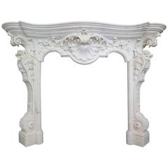 18th Century English Rococo Style Statuary White Marble Fireplace Mantel