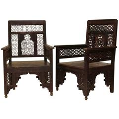 Handsome Pair of 19th Century Syrian Chairs