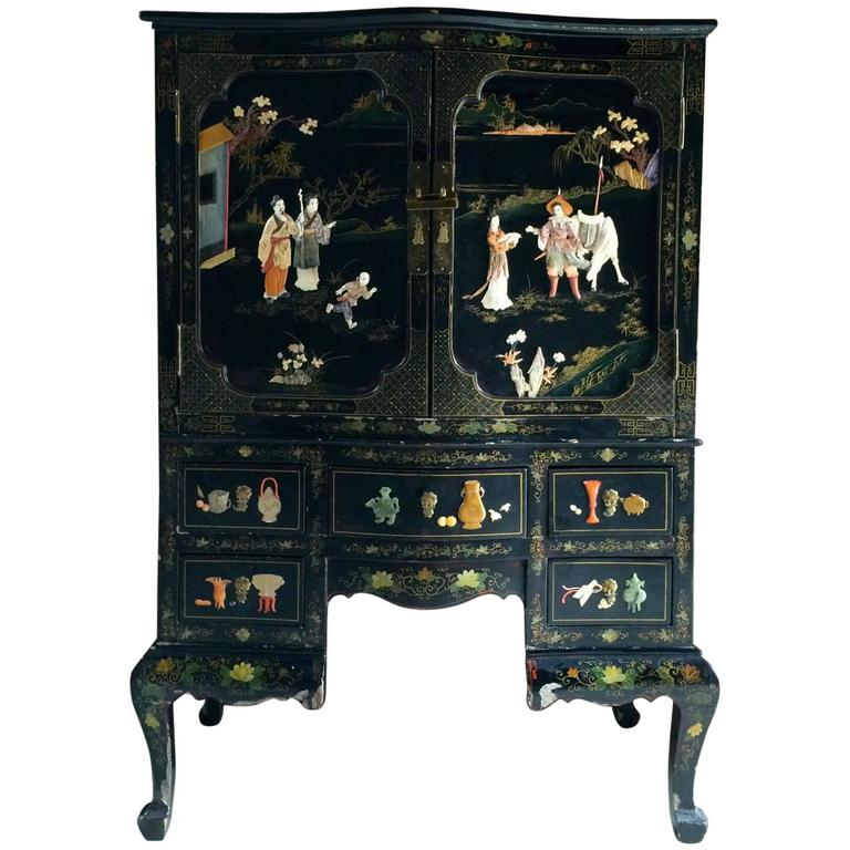 Antique Style Cabinet Dresser Chest Chinoiserie Oriental Lacquered For Sale