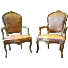 Antique French Louis XV Style Armchairs Fauteuils Pair Shabby Chic