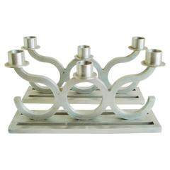 Pair of American Art Deco Bright & Brushed Aluminum Inline Triple Candleholders