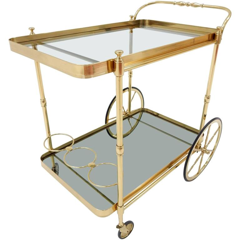 Mid-20th Century Italian Brass Bar Serving Cart by Maison Jansen