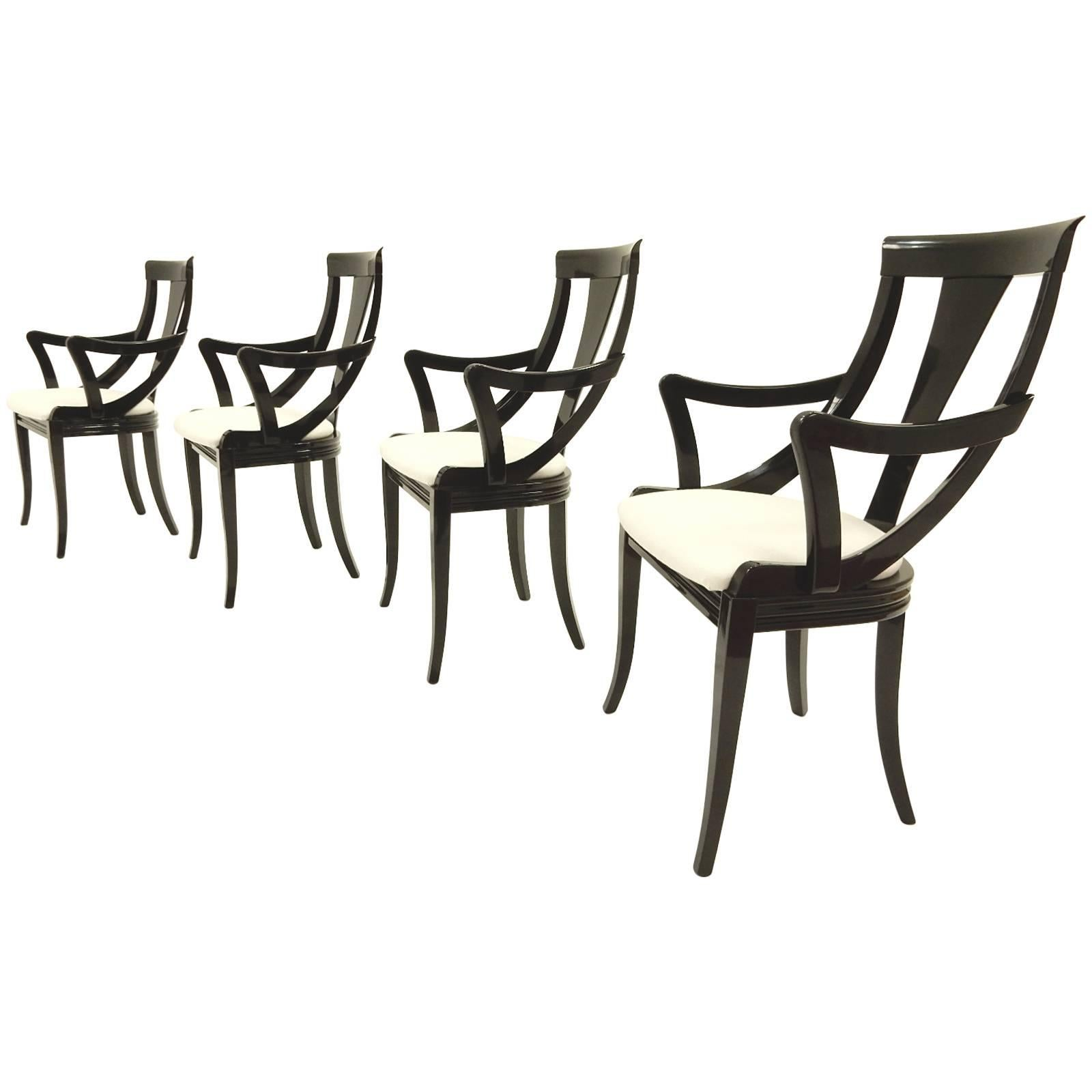 Sculptural Black Lacquer Dining Chairs by Pietro Costantini, Made in Italy