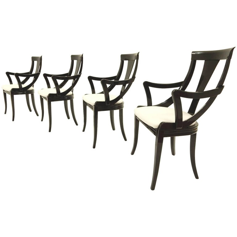 Sculptural Black Lacquer Dining Chairs by Pietro Costantini, Made in Italy For Sale