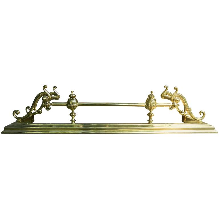 French Polished Brass Fireplace Fender in the Victorian Style, 19th Century