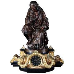 "Exceptional Bronze-Mounted ""Molière"" Clock, Carrier de Belleuse"