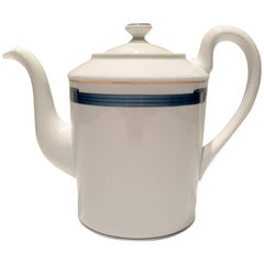 "1990'S French Limoge & 22K Gold ""Iriana Bleu""  Tea/Coffee Pot By, Christofle"