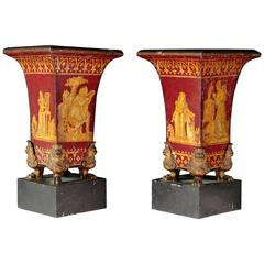 Pair of Sheet Metal Vases in Gothic Revival Style, 19th Century