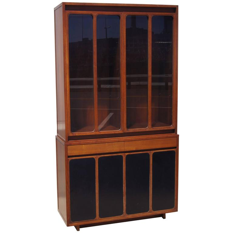Tall Cabinet With Glass Doors And Leather Panels By Paul Mccobb For