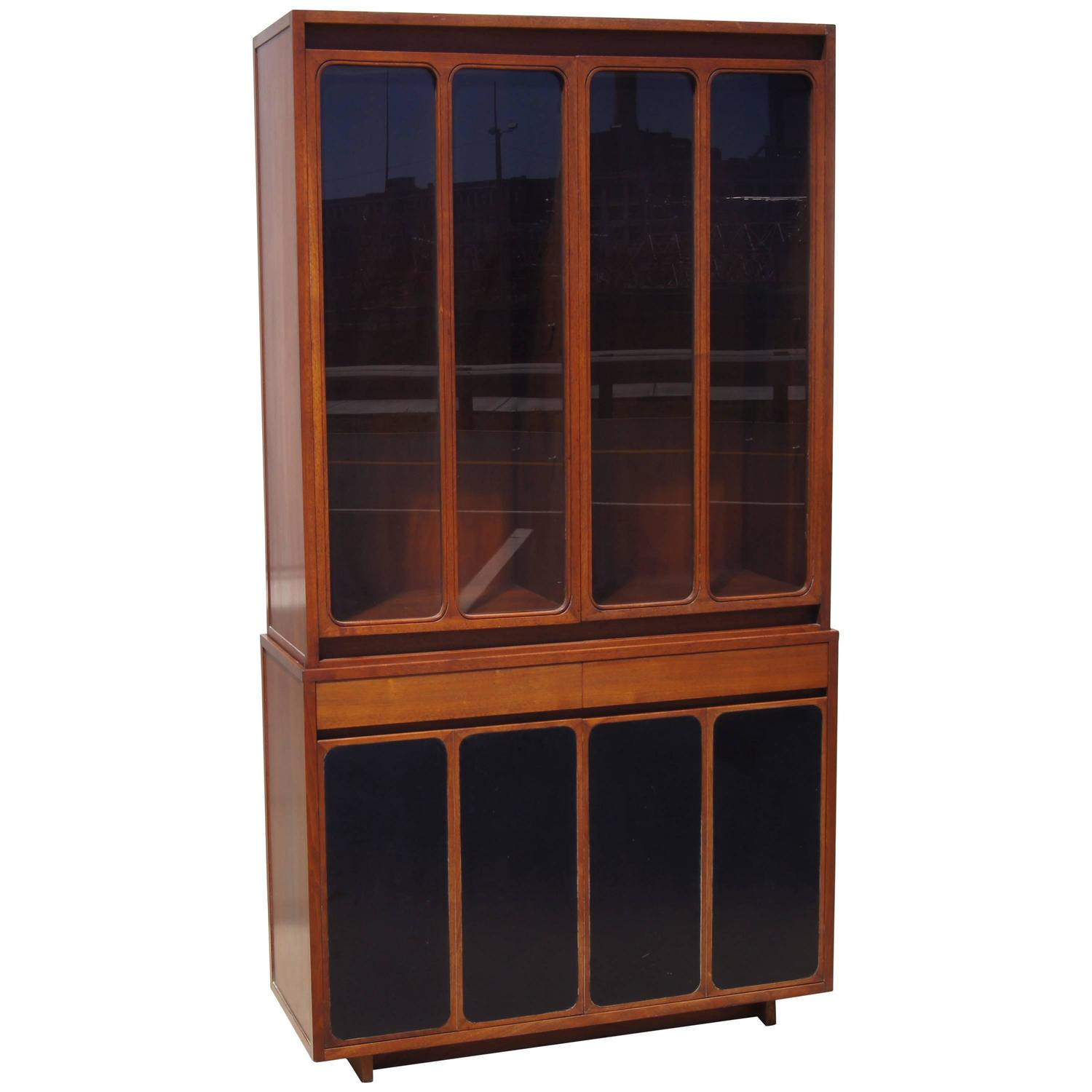 Tall Cabinet With Glass Doors And Leather Panels By Paul