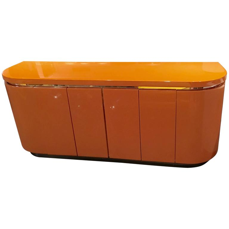 Orange laquer sideboard or credenza at 1stdibs for Sideboard orange