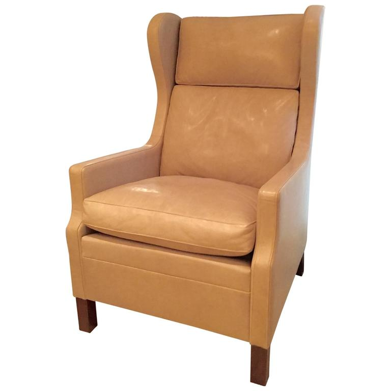 Custom Leather Wing Chair At 1stdibs