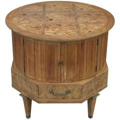Modern Mastercraft Round Burl Side Table with Bleached Olive Wood Top