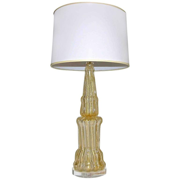 Large Barovier Murano Gold Tall Lamp For Sale