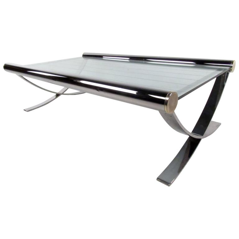Mid-Century Chrome Coffee Table For Sale