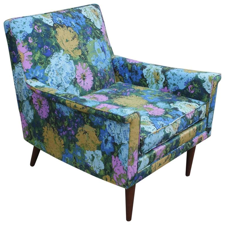Blue Green And Pink Floral Mid Century Modern Lounge Chair With Walnut Legs  For Sale