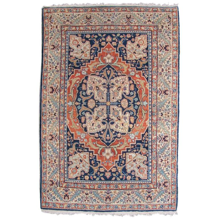 Late 19th Century Indigo and Ochre Yellow Tabriz Carpet