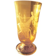 Art Deco Etched Glass Vase with Stylized Women and Dogs