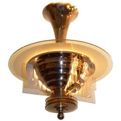 Petitot Art Deco Copper and Peach Glass Chandelier