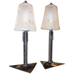 Pair of Peach Art Deco Muller Glass and Iron Lamps
