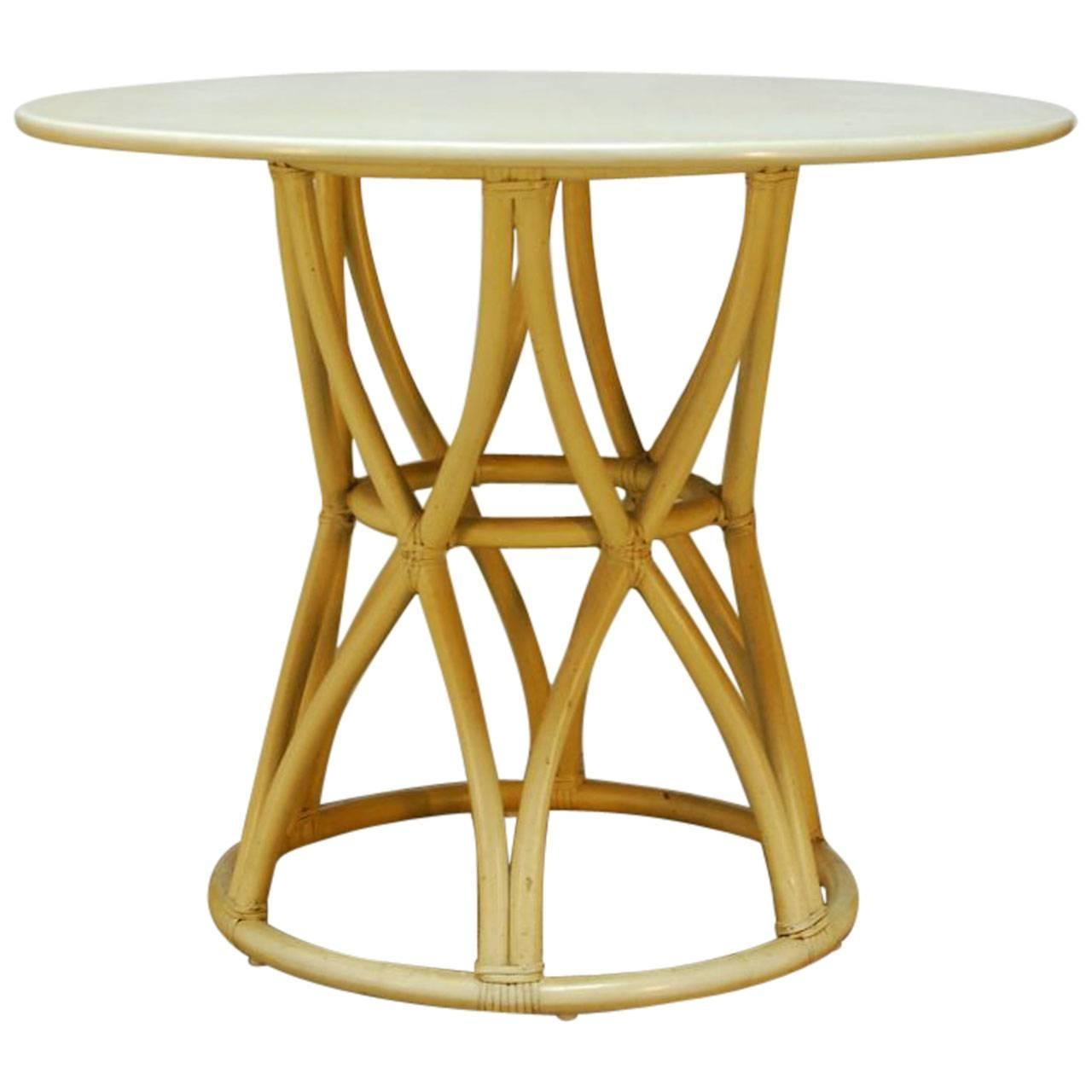 Mcguire round bamboo cage dining table at 1stdibs