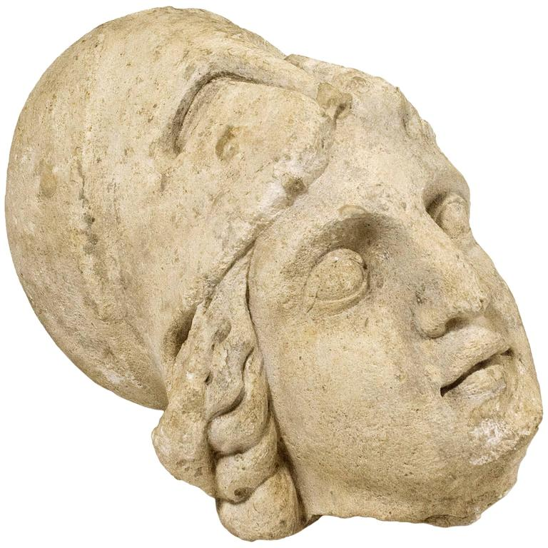 Roman Antiquities Stone Sculpture of Minerva with Helmet, 2nd Century AD, France For Sale