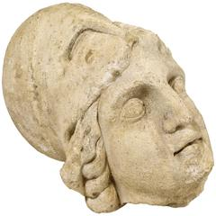 Roman Antiquities Stone Sculpture of Minerva with Helmet, 2nd Century AD, France