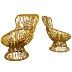 "Pair of Franco Albini Wicker ""Margherita"" Lounge Chairs, circa 1950, Italy"
