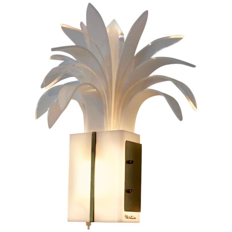 20th century theo verhulst palm tree wall light in brass 1