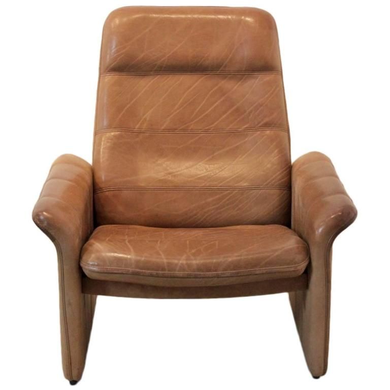 De Sede DS-50 Adjustable Lounge Chair in Soft Thick Brown Neck Leather