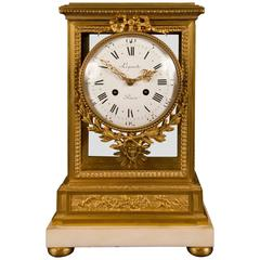 Louis XVI Style Gilt Bronze and Marble Mantel Clock, Signed Lepaute, a Paris