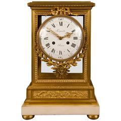 Louis XVI Style Gilt Bronze and Marble Mantel Clock, Signed Lepaute, a Paris
