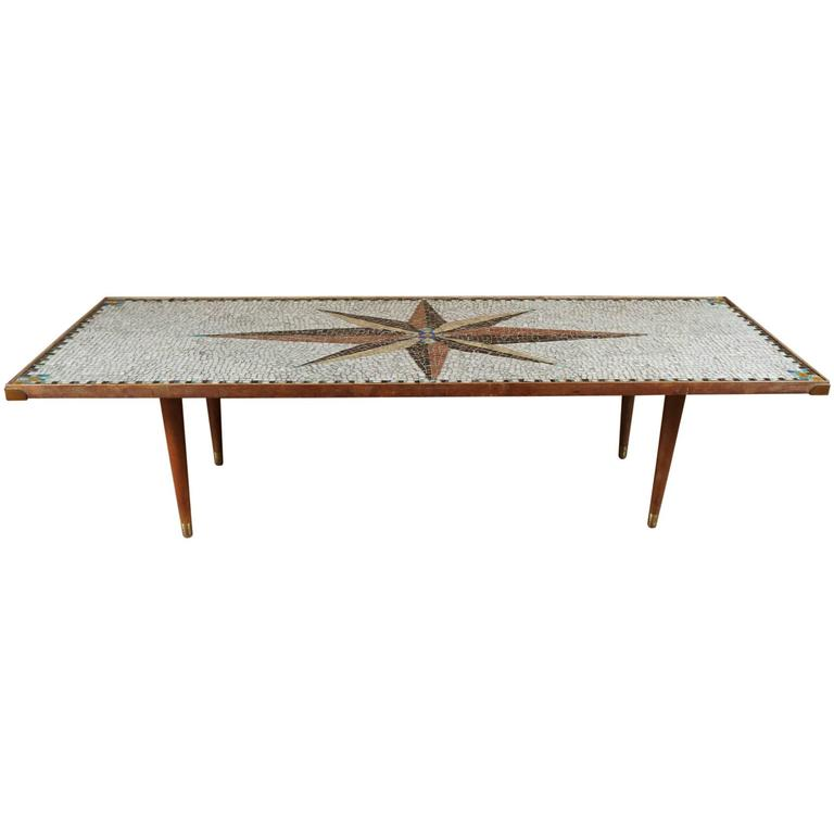 Mid century mosaic coffee table at 1stdibs for Mosaic coffee table designs