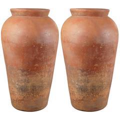 Pair of Monumental Terracotta Jars