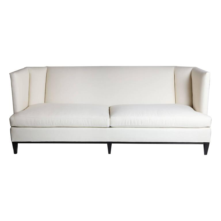 Modern Hickory White Sofa In Ivory Sailcloth For Sale