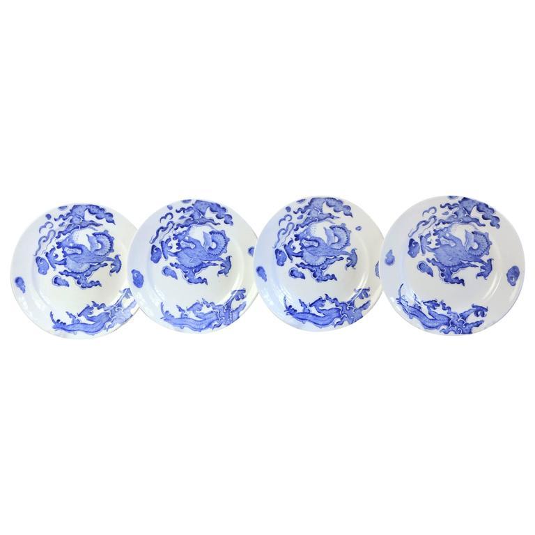 Set of Four Blue Dragon Plates by Coalport For Sale