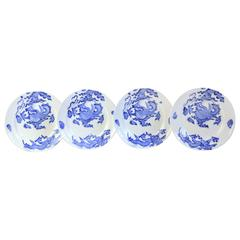 Set of Four Blue Dragon Plates by Coalport