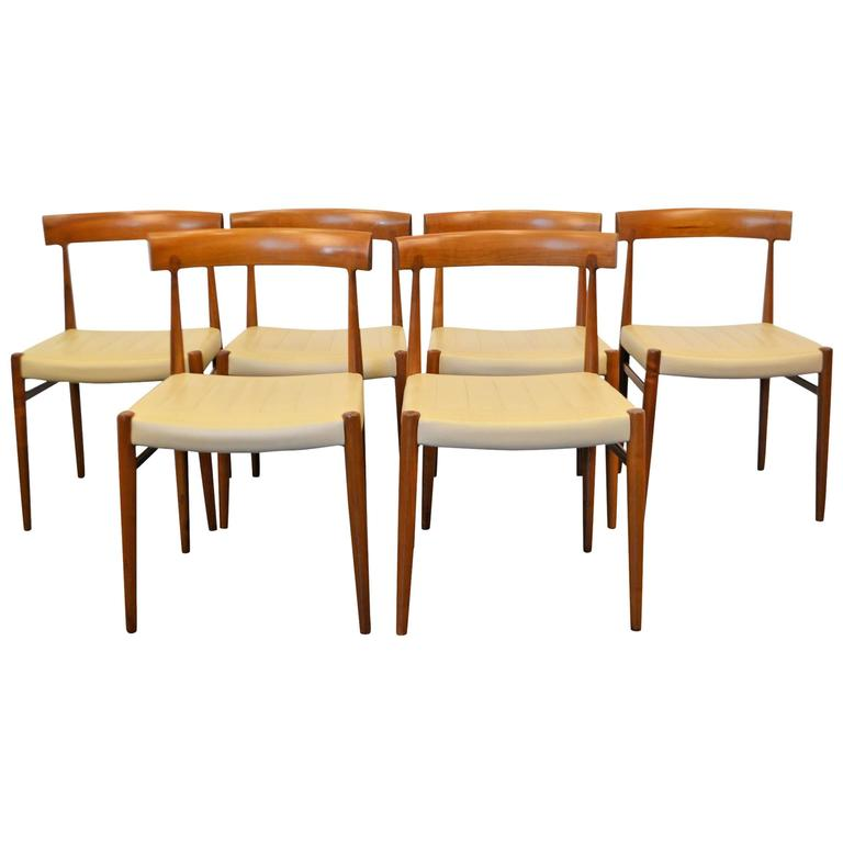 mid century modern walnut dining chairs set of six for sale at