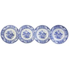 Set of Four Large Shallow Soup Bowls, Mason Ironstone Blue Pheasant