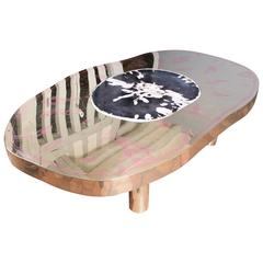 Coffee Table Petrus, Black Petrified Wood and Etched Brass by Arriau