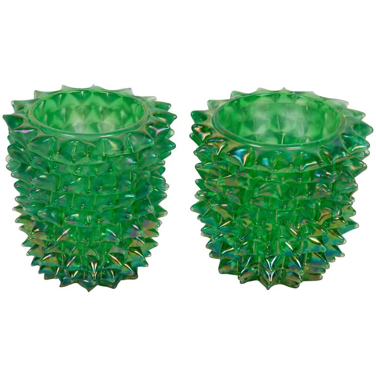 Magnificent Pair of Pino Signoretto Vases For Sale
